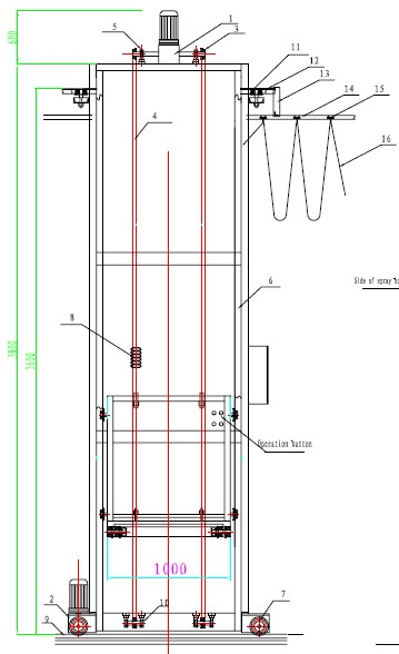 Подъемник 3D для окрасочной камеры схема.